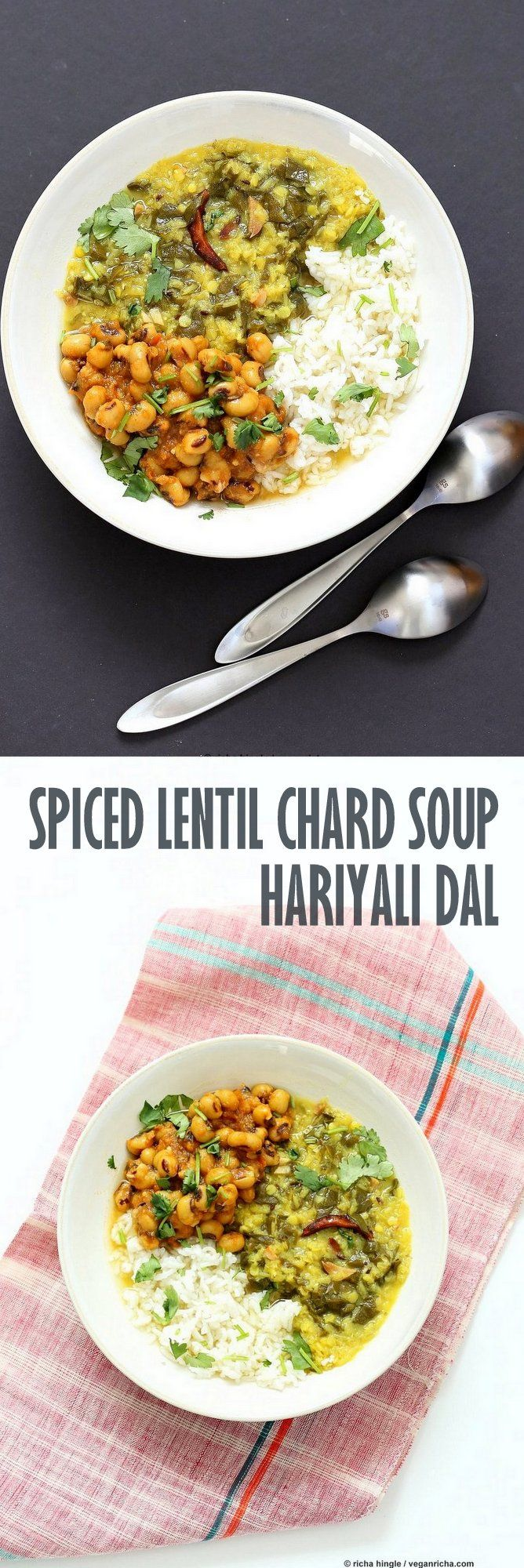 Spiced Lentil Chard Soup - Hariyali Dal. Creamy Red Lentils Cooked with Chard or…