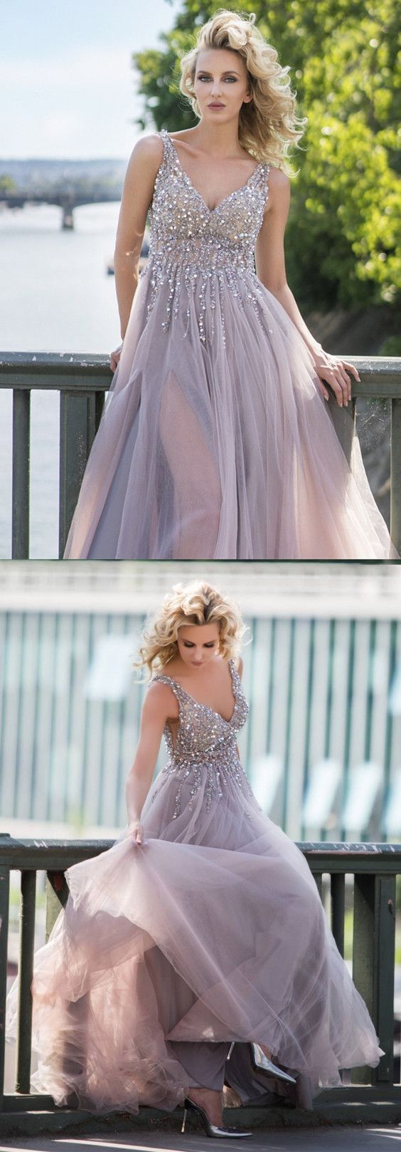 Gray tulle prom dresses long sequin beaded vneck formal gowns m