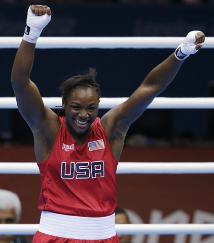 Claressa Shields celebrates after winning her fight against Russia's Nadezda Torlopova during the women's middleweight 75-kg boxing gold medal match.