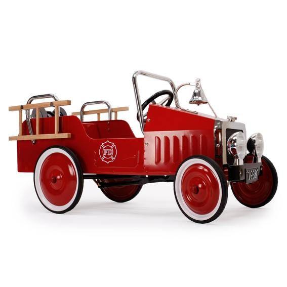 Camion de pompiers à pédales Baghera, voiture enfant de 3 à 6 ans