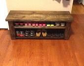 Custom Made Farmhouse Shoe Rack Bench. $95.00, via Etsy.