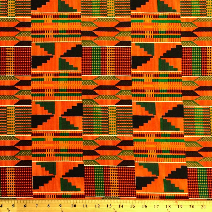 """This Kente African Print fabric is 44"""" wide and 100% Cotton. It is ideal for crafts, spring wear, garments and decorations. This cultural African collection is a great way to spruce up your next outfi"""