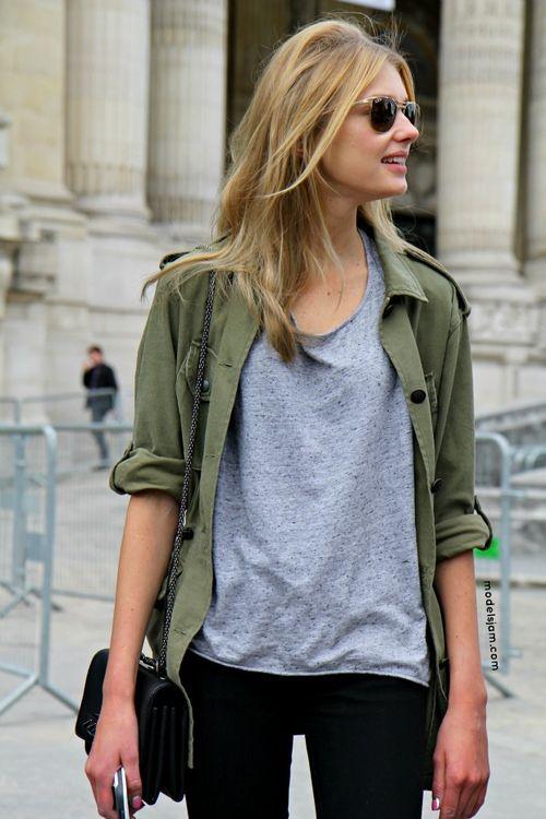 SPRING or FALL • sunglasses + [olive jacket] + loose plain tee + [black skinny jeans]
