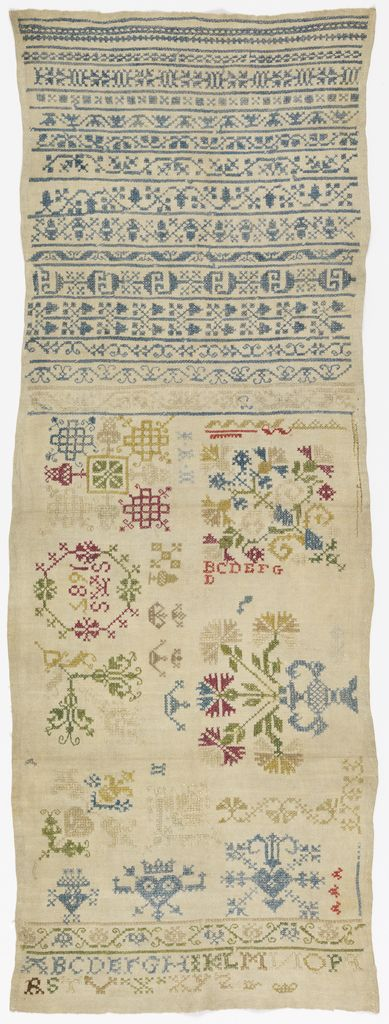 German Sampler ~ 1685 ~ silk embroidery on linen foundation ~ cross, double running and eyelet stitches on plain weave ~ Cooper Hewitt Museum