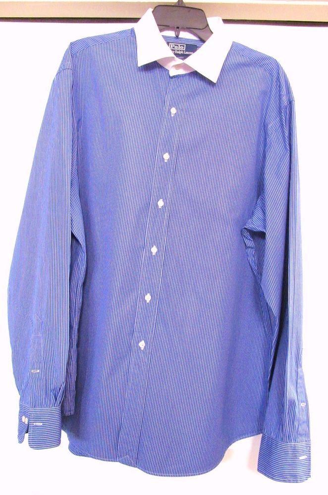 a720c3e91 POLO RALPH LAUREN REGENT Dress Shirt Blue Pin Striped Custom Fit Men s 18  36 37  PoloRalphLauren