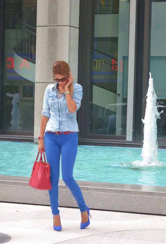 @roressclothes clothing ideas #women fashion blue Colored Jeans for Spring 2014