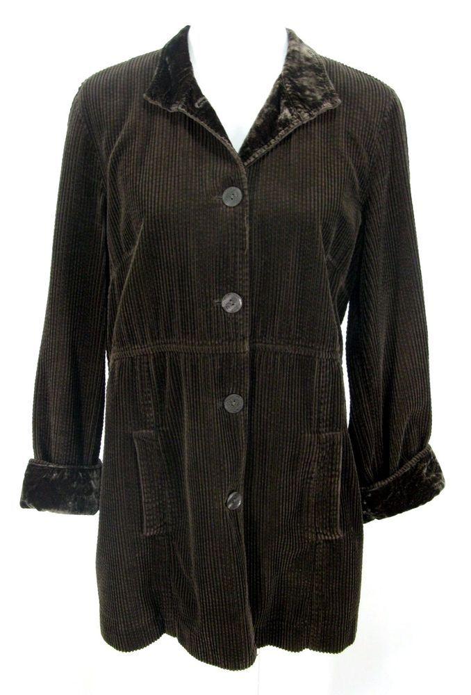 J. Jill Jacket Sz M Brown Corduroy Velvet Long Duster Blazer Victorian Steampunk #JJill #BasicJacket