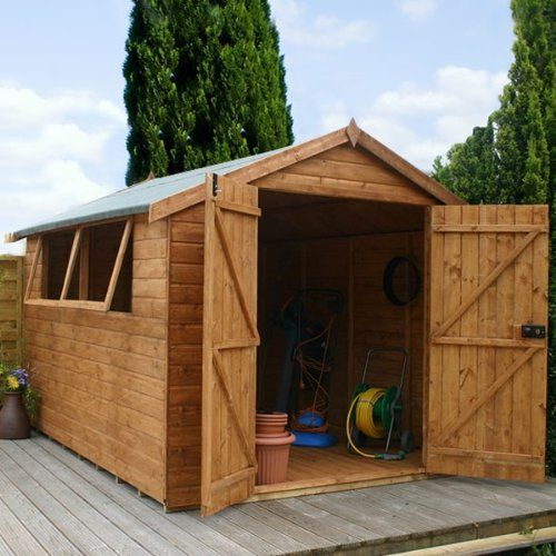 10ft x 6ft shiplap apex wooden storage shed premier groundsman brand 10x6 new double