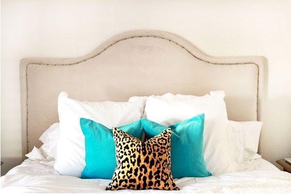 Cheetah print pillows for a tween room.