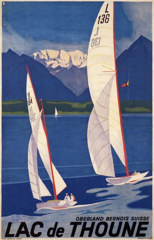 SWITZERLAND - Lac de Thoune Oberland Bernois Otto Baumberger 1936  #Vintage #Travel