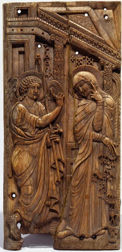 Anunciacion de la Virgen,marfil Bizantino. Año 700-800