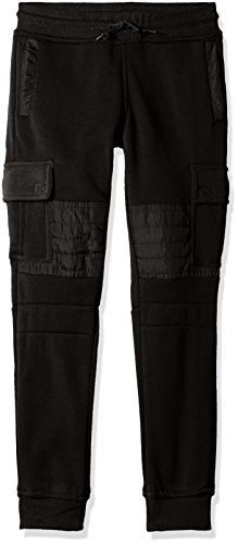 Southpole Boys' Big Boys' Jogger Fleece Cargo Pants with Quilted Nylon Utility Details on Knees, Black, Medium
