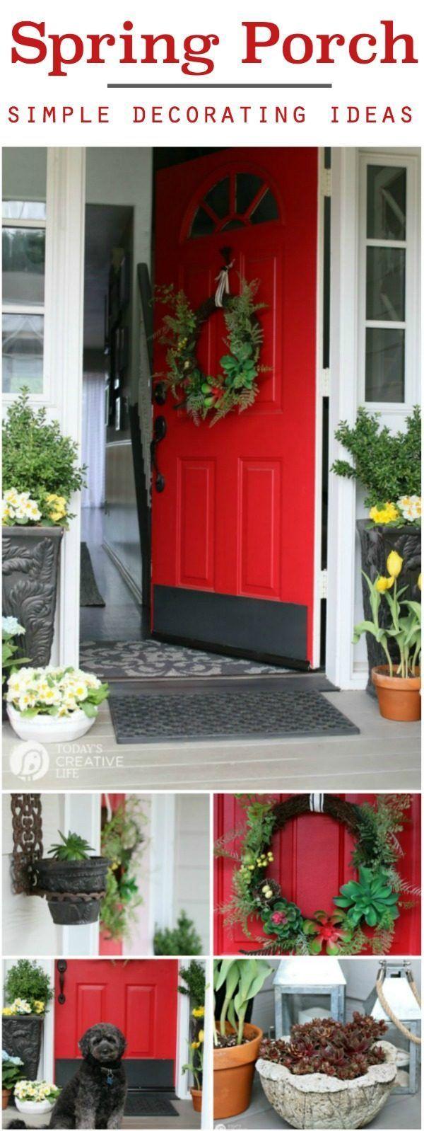 Front Porch Ideas | Decorating your porch for Spring. Small front porch simple DIY decorating ideas for spring. TodaysCreativeLife.com