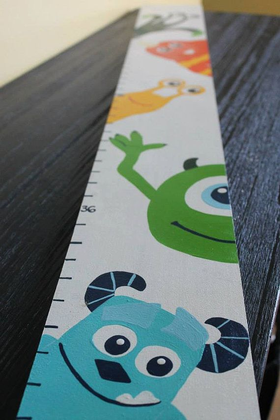 Wooden Height Chart Kids Height Chart Hand Painted Height Chart Nursery  Decor Personalized Monsters Themed By