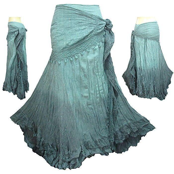 Peasant Boho Hippie Gypsy Tie Dye Crochet Tie Waist Skirt