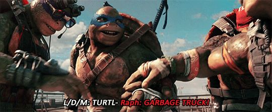 """Raphael, Leonardo, Donatello & Michelangelo about to say, """"Garbage Truck!"""" But instead, they'll say this good catchphrase that made me sooooooooo happy; """"TURTLE POWER!!!!"""""""