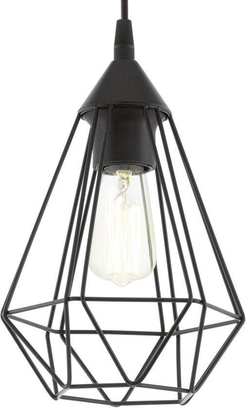 EGLO Vintage Tarbes - Hanglamp - Draadlamp - 1 Lichts - Ø175mm. - Zwart