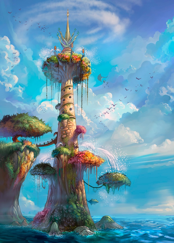 fantasy animation places background scenery anime landscape tree concept drawing worlds illustrations lighthouse fantasia tower arte inspiration town magical castle