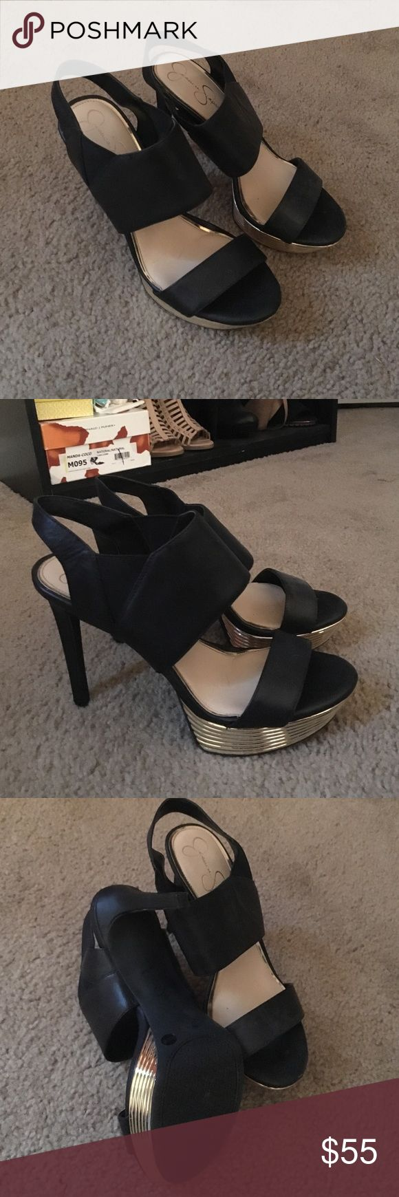 Never worn black and gold heels! Black and gold, high heel! Only selling because I can't wear super high heels anymore. Jessica Simpson Shoes Heels
