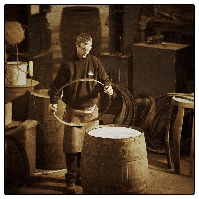 Cooper Building Cask at Glenfiddich Distillery, Scotland