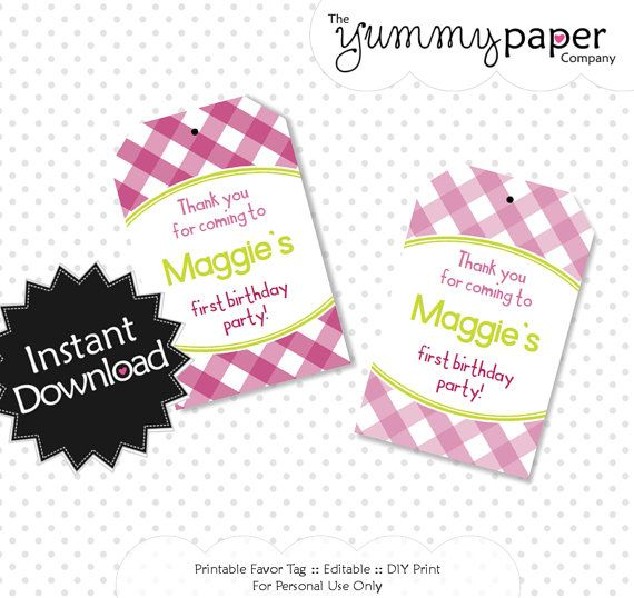 Editable Raspberry Lime Gingham Party Favor Tags - Instant Download - Editable PDF .. rlg01 Signature Collection