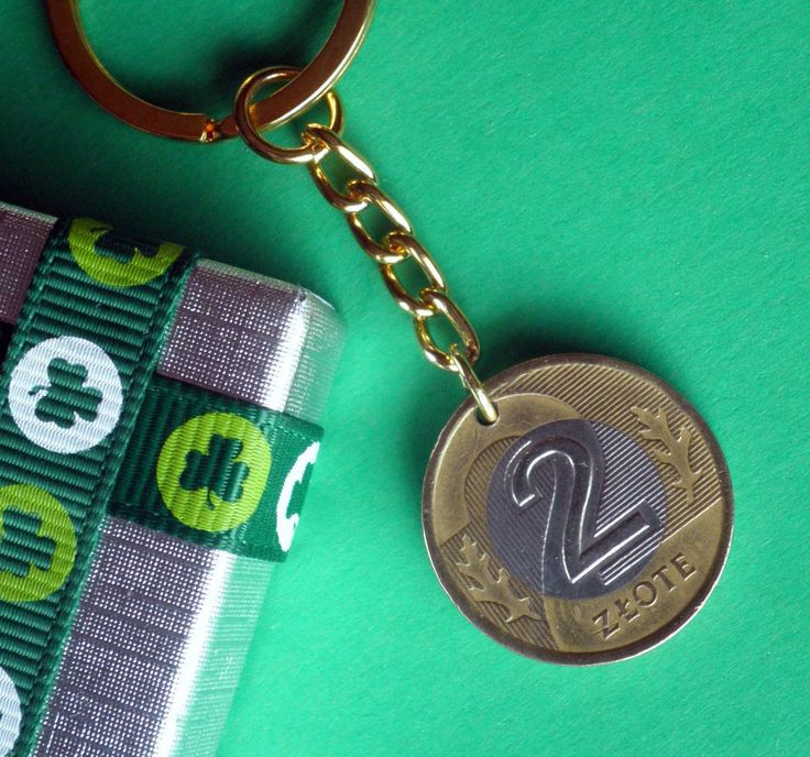 21st Birthday 1995 Poland coin Keyring, 2 Zlotych Polish Keychain, Goldtone and…