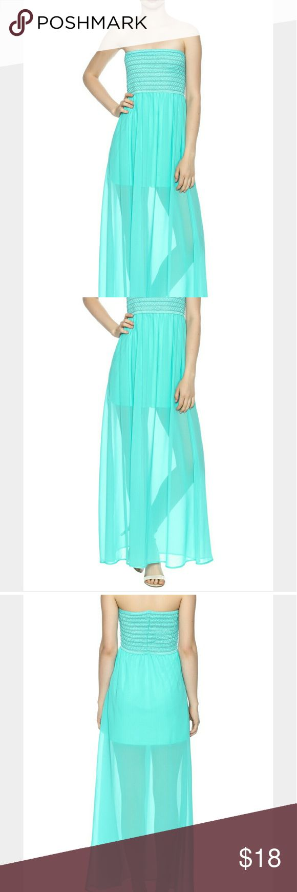 Chiffon strapless maxi dress Chiffon strapless maxi dress with elastic top and flowy chiffon skirt.  Knee length lining. love j Dresses Maxi