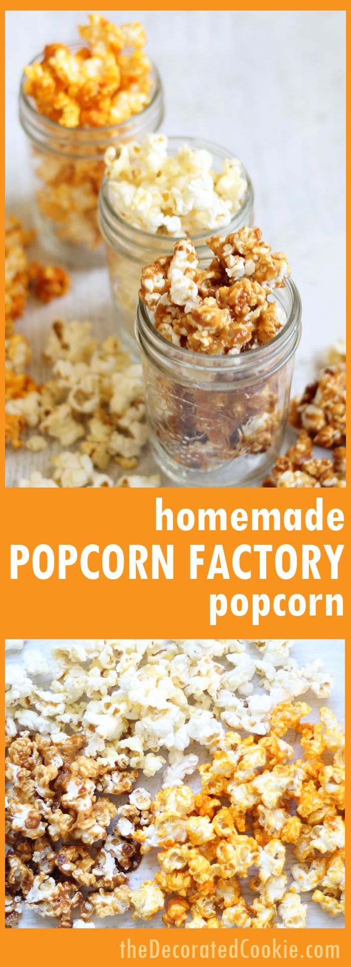 Homemade Popcorn Factory Popcorn! Make your own trio of popcorn flavors, buttered, caramel, and cheddar. Great homemade food gift idea.