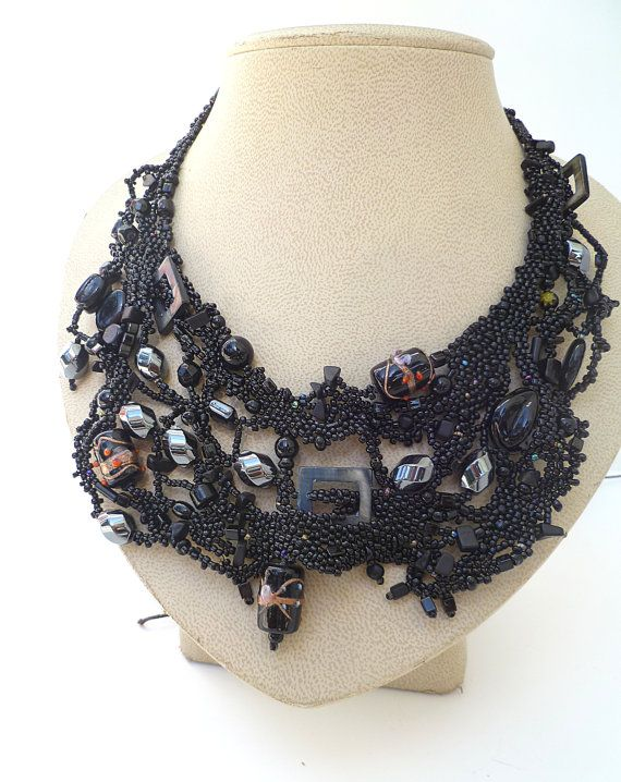Black forest VIII free form peyote stitch necklace by Cesart64, $139.00