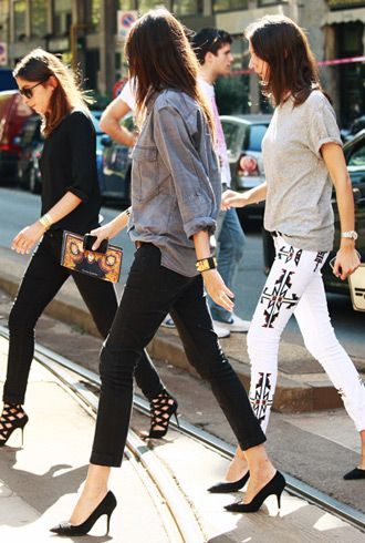 french vogue: Vogue Paris, French Vogue, Emmanuel Alt, Street Style, Jeans, White Pants, Isabel Marant, Heels, Skinny Pants