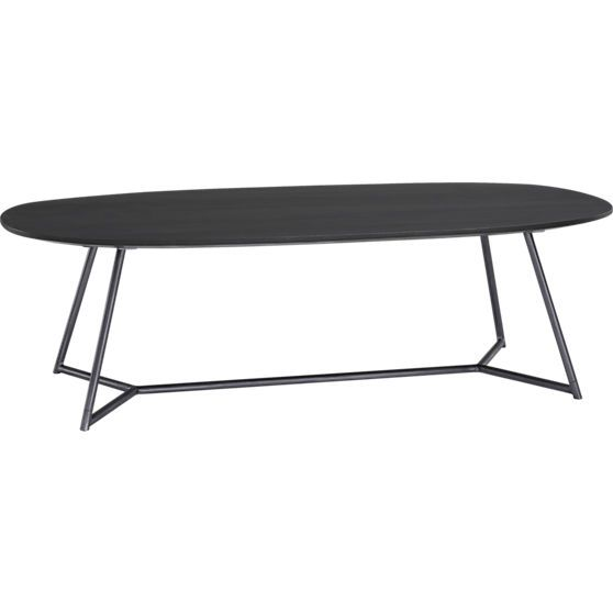 Dark Stained Wood Top With Metal Base Ember Coffee Table In Accent - Cb2 cocktail table