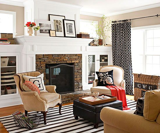 Family friendly living spaces fireplaces window and built ins - Family living room ideas ...