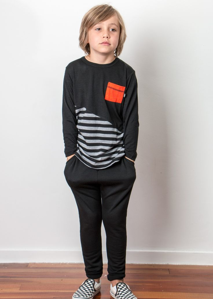 Pick Pocket Merino Kids Long Sleeve T Shirt - Black|Silver Stripe