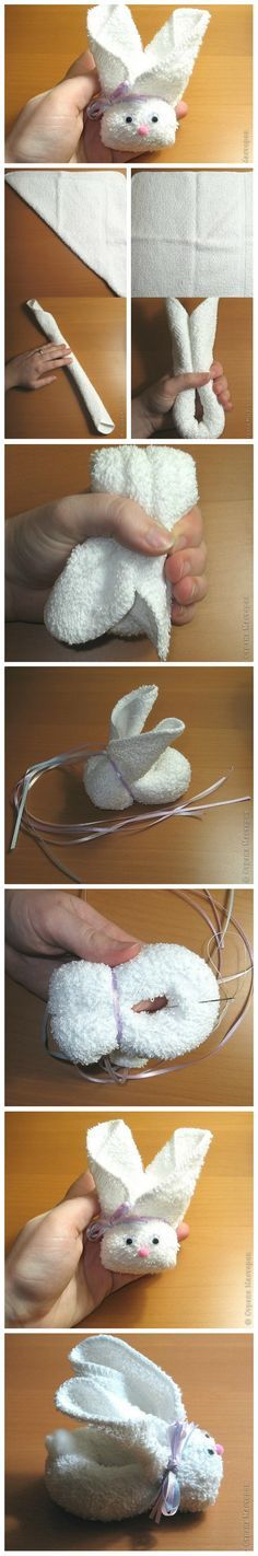 Cute Towel Bunny Tutorial. So cute and VERY easy to make. Great for your own children or to give as baby shower gifts :)