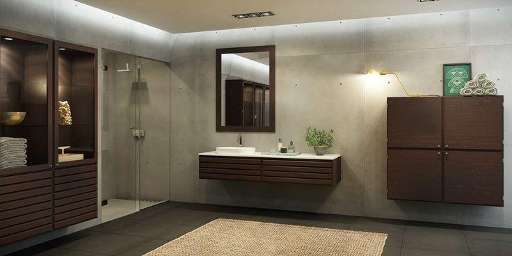 Klassiskt, modernt badrum med element i rökt ek  Bath_C-Series_Smoked_Oak_1.jpg (2193×1099)