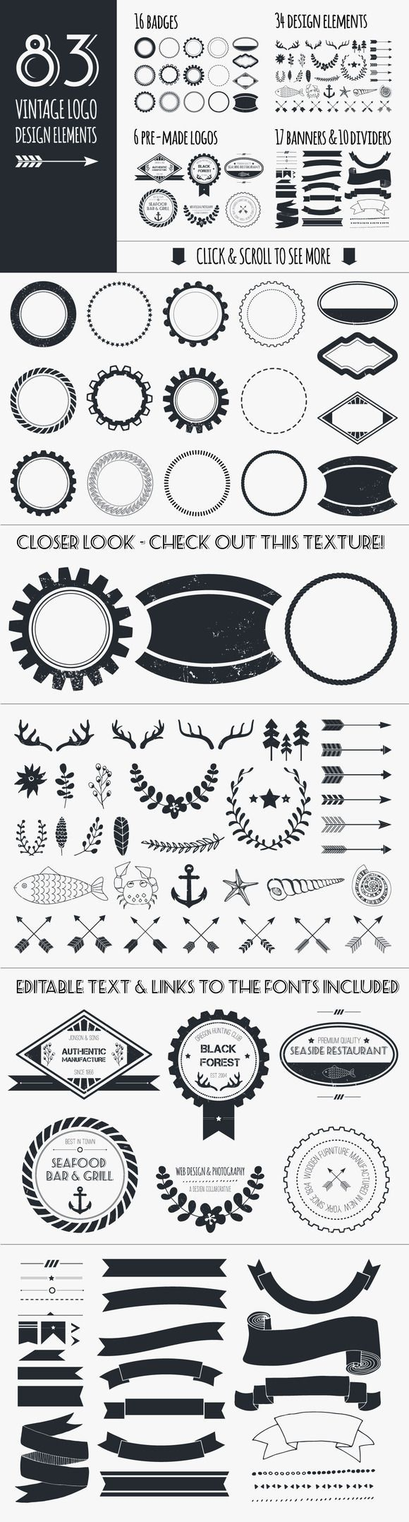 Vintage Logo Elements Bundle by Favete Art #alisonrosenow .. Beautifully done, awesomely priced!: