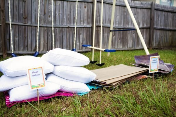 build a s'more relay race - pillows for marshmallows, lg foam board for graham crackers and choc. bars