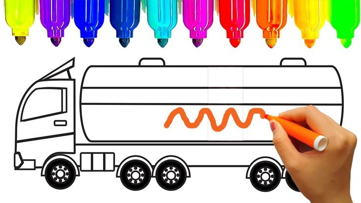 Learn colors for kids with truck coloring pages, Oil truck, Fun coloring...