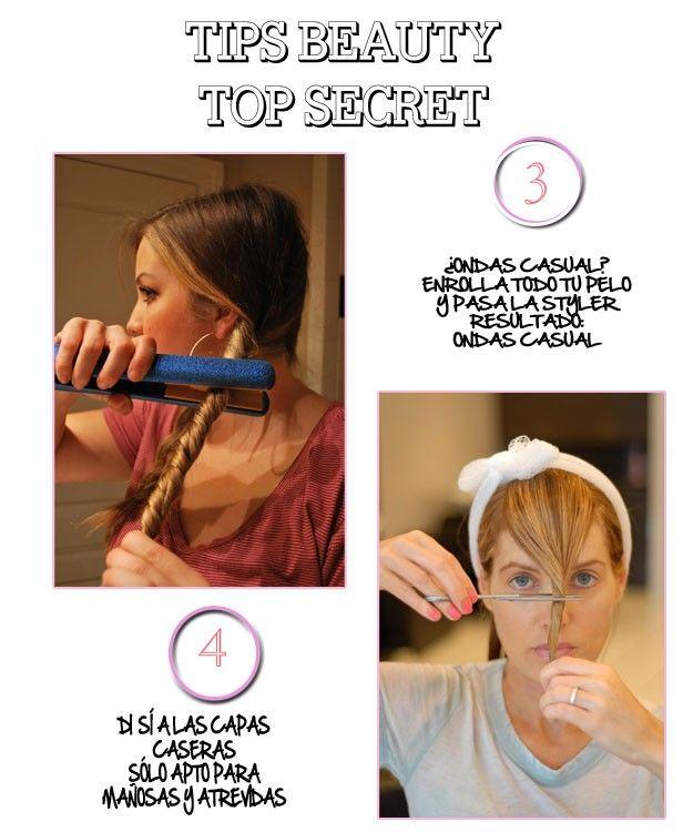Trucos para hacer ondas en el pelo y retocar las capas del pelo.