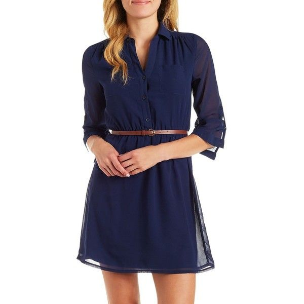 Charlotte Russe Belted Shirt Dress ($29) ❤ liked on Polyvore featuring dresses, navy, shirt-dress, blue button down dress, navy shirt dress, button down dress and charlotte russe