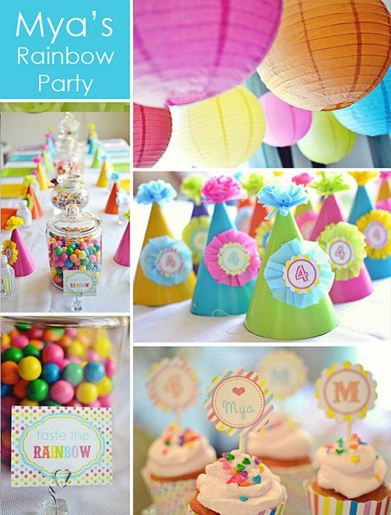 Colorful summer-y color party: Parties Hats, Party'S, Birthday Parties, Rainbows Theme, Rainbows Birthday, Parties Ideas, Rainbows Parties, Rainbow Parties, Party Ideas