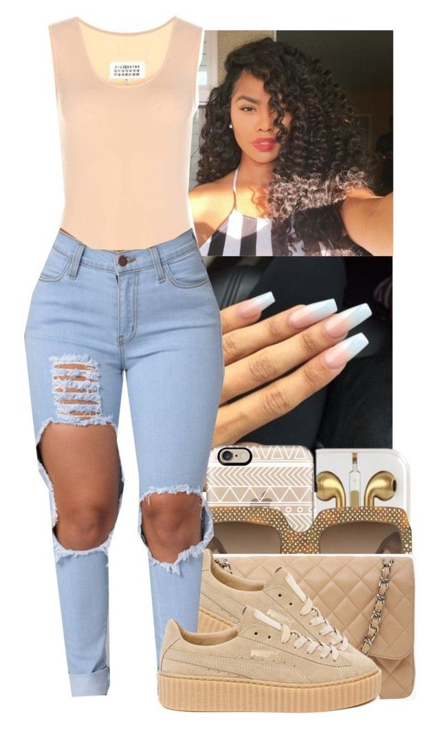 """STOP COPYING MY SETS YALL ANNOYING ASF"" by jasmine1164 ❤ liked on Polyvore featuring Maison Margiela, Casetify, Gucci, Chanel and Puma"