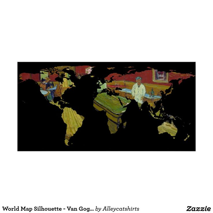 80 best world map silhouette images on pinterest silhouette world map silhouette van goghs night cafe poster gumiabroncs Images