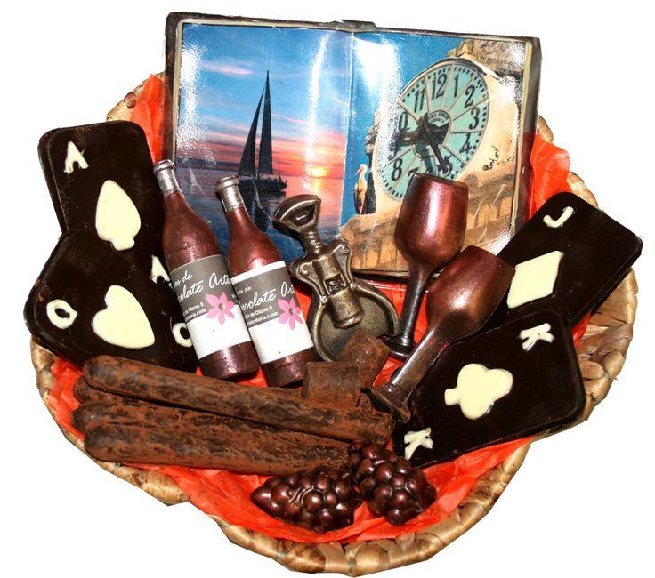 Cesta de piezas de chocolate personalizadas