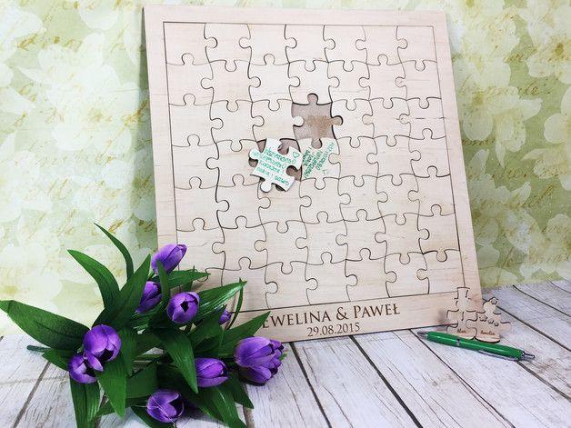 Księga Gości ślub wesele weselna puzzle drewniana - 2FR - Ślubne księgi gości