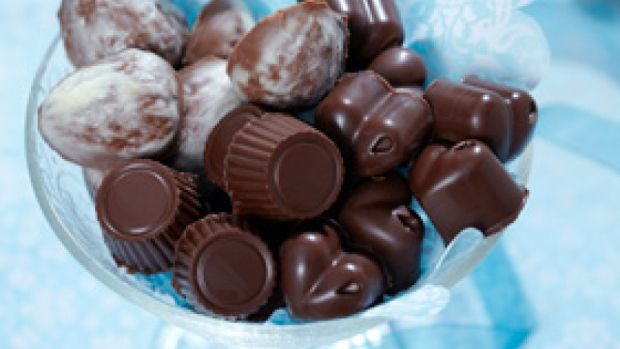 Fyldte chokolader med orangetrøffel