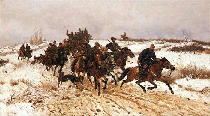 Józef Chełmoński- Wyjazd na polowanie.