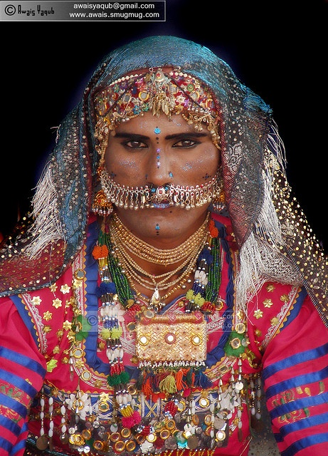 "Pakistan | ""Sindhi cultural dress and makeup "" A male dance performer from Gholistan desert. 