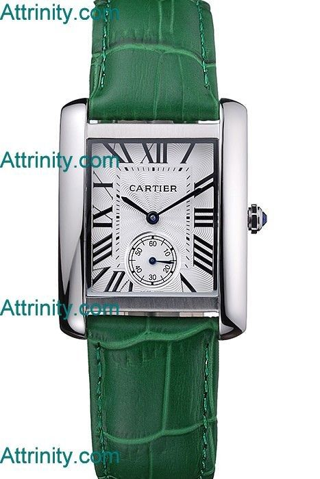 Hottest Cartier Tank MC Stainless Steel Case White Dial Green Leather Strap Replica Watch [5N2C]