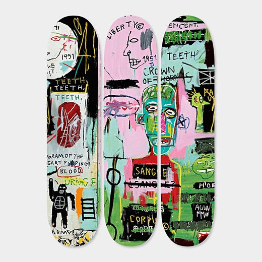 I love the idea of bringing art to a skateboard – Basquiat Skateboard Triptych In Italian | MoMAstore.org
